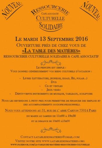 Annonce ouverture 13 septembre ressourcerie culturelle