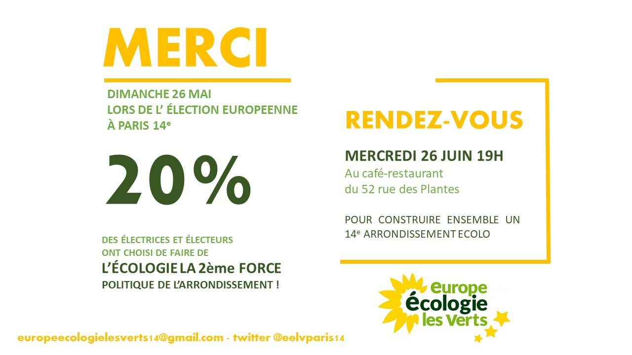 Remerciement Européennes Paris14